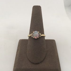 Jewelry - 14K Yellow Gold Opal & Diamond Fashion Ring
